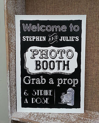 """Personalised Photo Booth """"grab A Prop"""" Chalkboard Style Wedding Party Sign/print"""