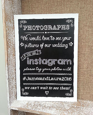 Personalised Photo Instagram Chalkboard Style Wedding Party Sign/print - Vintage