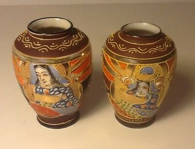 """PAIR SMALL JAPANESE VASES Set/Lot 2 Brown & Gold Made Japan 2 1/2"""" Hand Painted"""