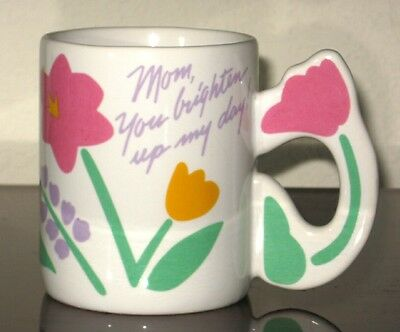 AVON Especially for You ❤  Mom, You Brighten My Day ❤ Cup Mug w/ Flowers Tulips