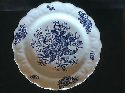 "BOOTHS 7 3/4"" Salad / Dessert Plate Blue White PEONY A8021 Scalloped Edges"