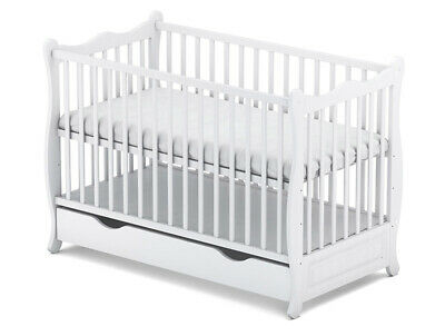 """New !!! Baby Cot With Drawer / Junior Bed """"Sofia White"""" + Mattress"""