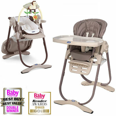 New Chicco Cocoa Polly Magic Highchair Reclining Baby Chair Height Adjustable