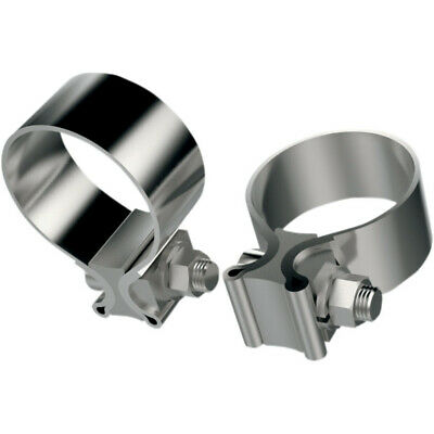 "Two Stock Repl Harley 2"" OD 1 7/8"" ID & 1"" Wide Stainless Muffler Exhaust Clamps"
