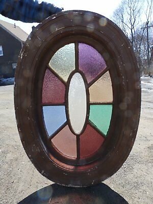 Large Antique Oval Stained Glass Window Sash Old Victorian Vintage House 4491-15