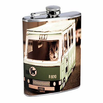 Funny Cat D12 Flask 8oz Stainless Steel Cute Silly Crazy Meow Cool Kitten Tricks