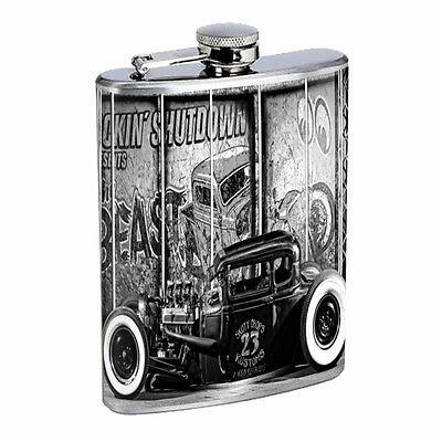 Hot Rod D4 Flask 8oz Stainless Steel American Classic Car Roadster Gow Job