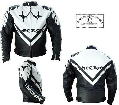 The Crow Style Mens Ce Armour Black & White Motorbike Motorcycle Leather Jacket
