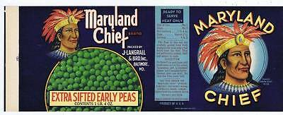 Maryland Chief, can label, extra sifted early peas, J Langrall, Baltimore MD