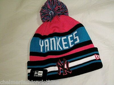 BNWT - NEW ERA MLB New York Yankees Jake Knit Striped Bobble Beanie Hat