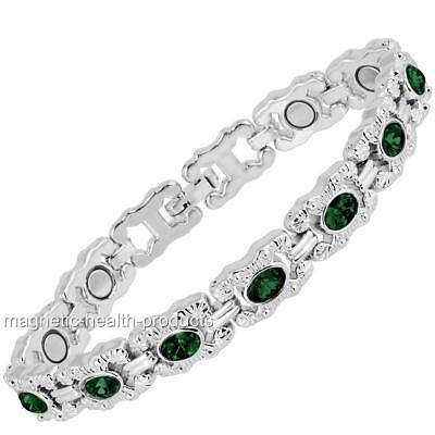 Ladies Magnetic Healing Bracelet Green Crystals Bangle Arthritis Pain Relief 42