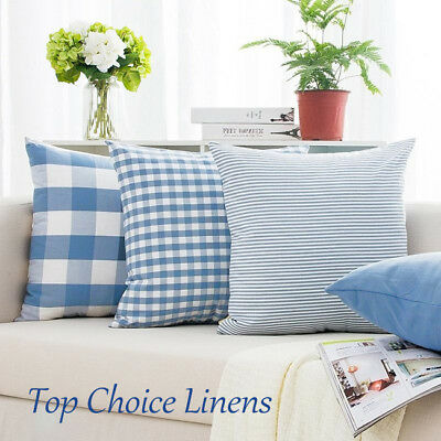 Classic Home Decorative French Provincial Check/Stripes Cushion Cover-Light Blue