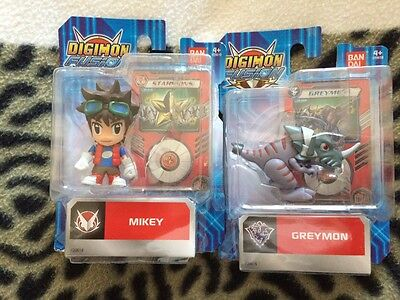 Digimon  mikey  greymon shoutman ballistamon 3 inch figure sets and cards