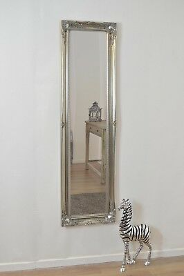Large Wall Mirror 5Ft6 X 1Ft6 Silver Full Length Classic Ornate Decorative