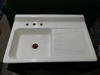 Vintage Fired Clay White Glazed Farm house Kitchen Sink Old Plumbing 4492-15
