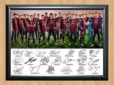 Barcelona FC Squad Lionel Messi Iniesta Soccer Signed Autographed A4 Photo Print