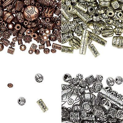 Lot of 300 Assorted Metallic Plastic Spacer Beads in a Mix of Small - Big Sizes