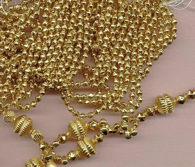 24KT GOLD PLATED MERCURY GLASS BEADS HOLLOW Czech 4mm Feather Tree size Lot