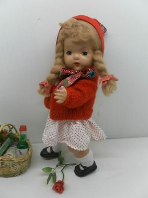 Antique French Paper Papier Mache Doll Little Red Riding Hood Mohair Wig 13 inch