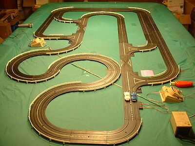 Aurora COMPLETE RACE SET with CARS! 7 RACE TRACKS in ONE LAYOUT! Set Up & tested
