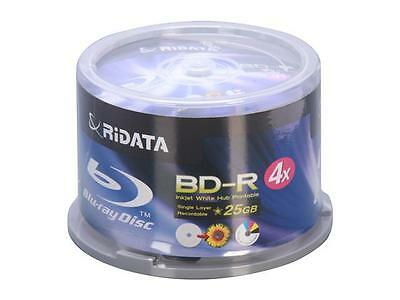 50 RIDATA 4X White Inkjet Printable Blu-Ray BD-R 25GB Blank Disc CAKE BOX