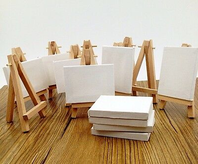 Lot of 10 Mini Blank Canvas and Display Easel, Great for Wedding Name Board