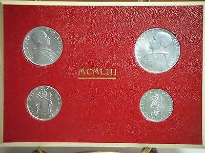 Vatican City 1953 4 Coins Mint Set Orig Red Holder 1,2,5,10 Lire Free Shipping!