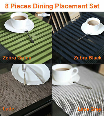 8 Piece Dining Placemat Set/Table Mats-Mesh/Lace Grey/Lace White/Wave (30x45cm)