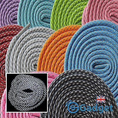 Reflective Rope Sports Laces 3M Running Trainer Boot 6mm Shoelaces 3 Sizes UK
