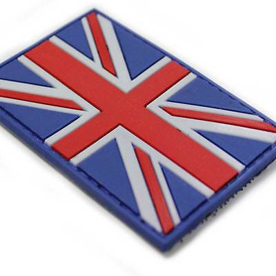 3D Rubber British Union Jack Red White Blue Velcro Backed Military Army Patch UK