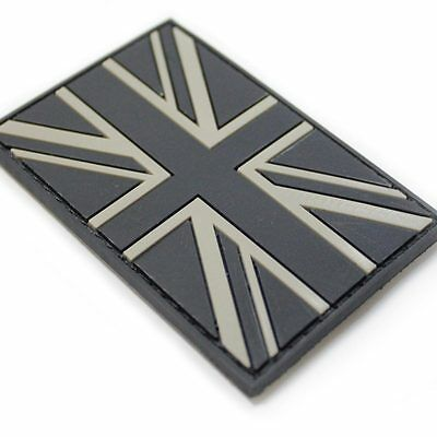 3D Rubber British Union Jack Military Army Tactical Police Patch Black Subdued