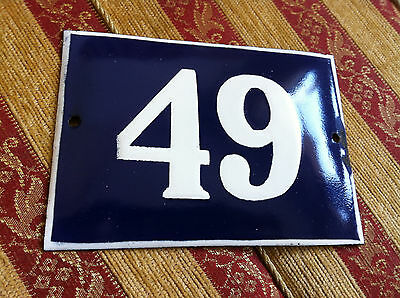 ANTIQUE VINTAGE FRENCH ENAMEL SIGN HOUSE NUMBER 49  DOOR GATE SIGN 1950's