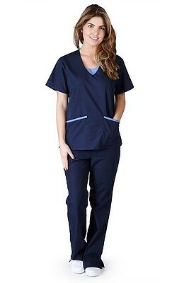 NEW Contrast Jersey Scrub Set Medical Uniforms Top & Pants FREE SHIPPING 1077