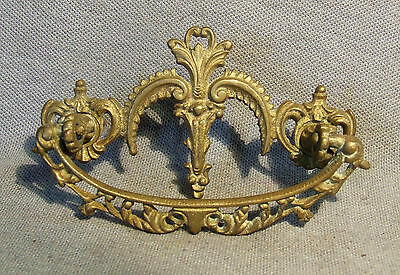 Fancy Antique Cast Brass Dresser Drawer Pull Hardware Restoration  HW-150