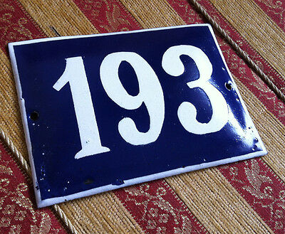 ANTIQUE VINTAGE FRENCH ENAMEL SIGN HOUSE NUMBER 193 DOOR GATE SIGN BLUE 1950's