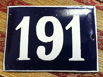 ANTIQUE VINTAGE FRENCH ENAMEL SIGN HOUSE NUMBER 191 DOOR GATE SIGN BLUE 1950's