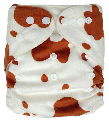 Modern Reusable Washable Baby Cloth Nappy Cloth Diapers & Insert Minky Brown Cow