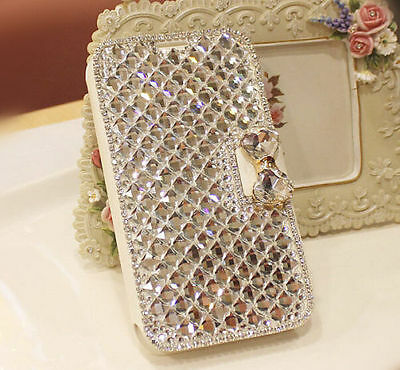 Luxury Bling Crystal Diamond Leather Wallet Case Cover For Samsung Galaxy Phone