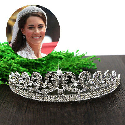 Crystal Veil Wedding Tiara Crown Rhinestone Pageant Bridal Headband Diadem