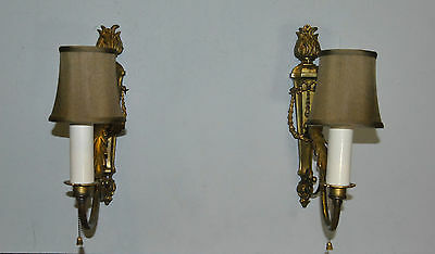 Vintage French Style Pair of Bronze Wall Sconces Classic Form