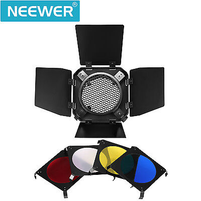 Neewer Photogenic Flash Light Barn Door and Honeycomb Set with 4 Color Gel