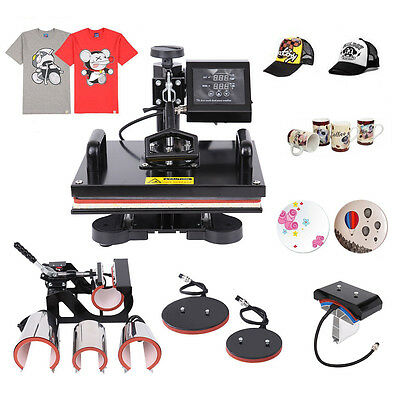 "8 In 1 Plate Mug Cap T-Shirt Heat Press Transfer Machine Sublimation 15""x12"""