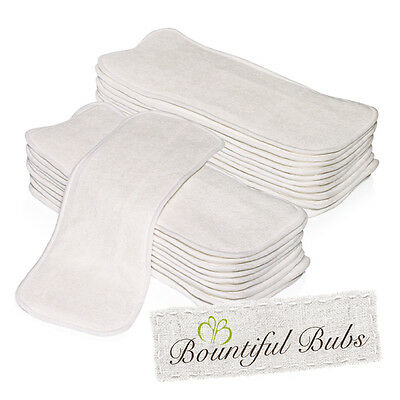 Bamboo Nappy Inserts, Newborn Boosters, 4 Layers x 20, 1Bm x 3 Mf Bountiful Bubs