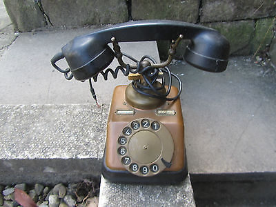 Vintage 1930's Style Telephone Phone KTAS D30 Copper Brass Iron Denmark   Repro