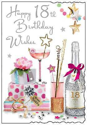 Jonny Javelin Age 18 Female Birthday Card Young Girl Pouring Wine