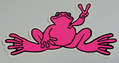 Peace Frogs Pink Frog Sticker