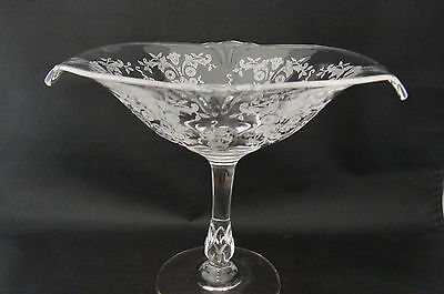 Vintage Hollywood Regency Etched Glass Pedestal Compote Candy Dish