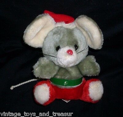 "7"" Vintage Russ Berrie Co Rupert Christmas Grey Mouse Stuffed Animal Toy Plush"