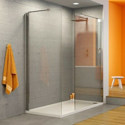 Walk in Shower Panel 8mm Glass Screen Enclosure Wet Room- 1850 x 900mm