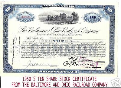 Baltimore And Ohio Railroad 10 Share Stock Certificate